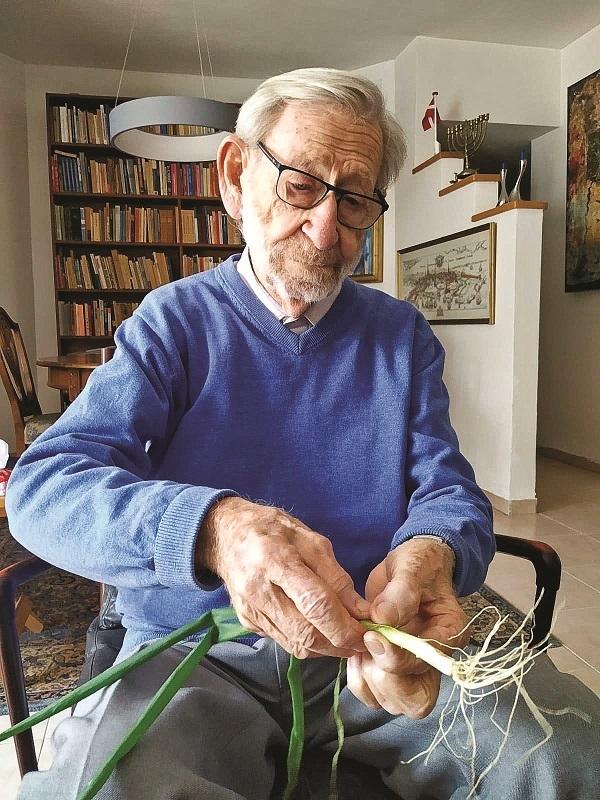 פישרמן עם הבצל מגינתו. מצמיח שורשים מחדש